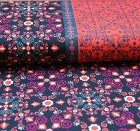 Teplákovina ornamenty půlený vzor oranžová/pink