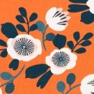 Úplet potisk malované kytičky s lístky na oranžové