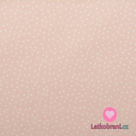 Teplákovina potisk drobné puntíčky na růžové