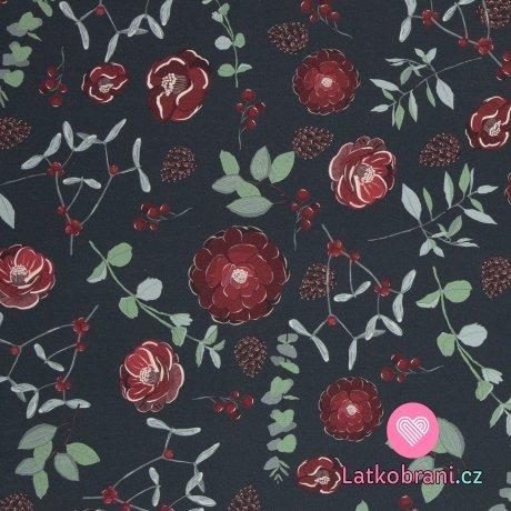 Teplákovina s příměsí modalu potisk čajové růže mezi šiškami a větvičkami na antracitové