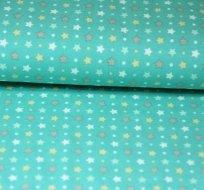 Úplet hvězdičky bílé zelené s puntíky na pastelově modré