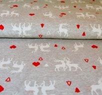 Bavlněný úplet jelen se srdíčky na šedém melé