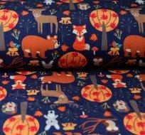 Softshell zvířátka oranžová na tmavě modré s fleecem
