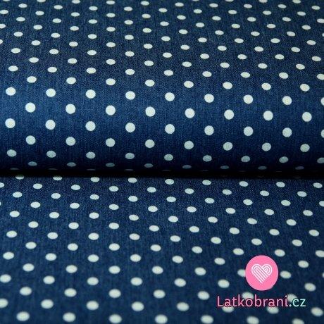 Jeans/Denim puntíky na modré střední 5mm