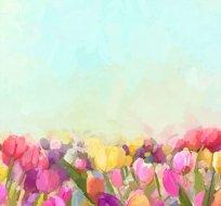 Panel tulipánová zahrádka na modré