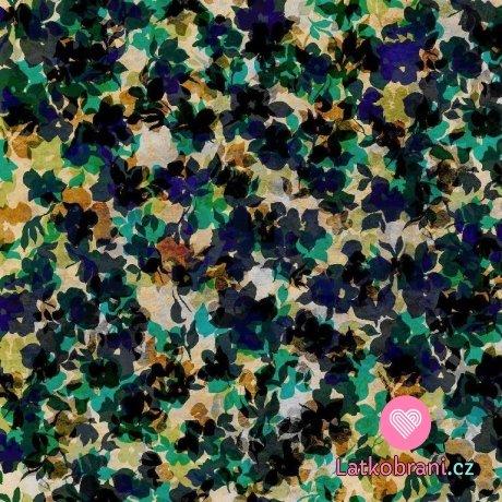 Softshell zimní potisk květy zelené ve třech vrstvách