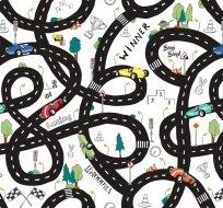Úplet silnice auta na bílé