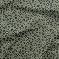 Teplákovina potisk tygrovaný vzor na khaki zelené
