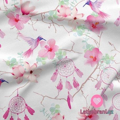 Teplákovina potisk růžové lapače snů s květy a kolibříky