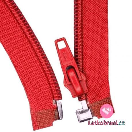 Zip spirálový dělitelný červený 65 cm