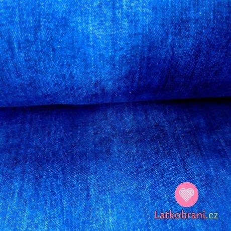 Úplet potisk efekt jeans modrá
