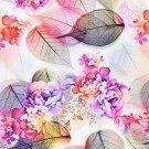 Teplákovina koláž s listy a květy do fialové