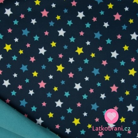 Softshell barevné hvězdičky na námořnicky modré