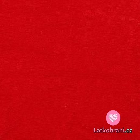 Jednobarevný, oboulícní bavlněný úplet červený
