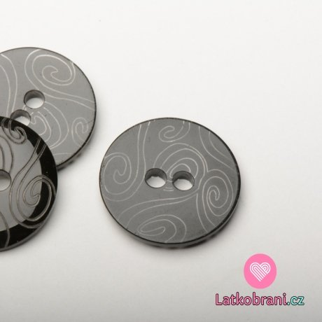Knoflík kulatý, hladký černý s vyrytými ornamenty, dvojí lesk