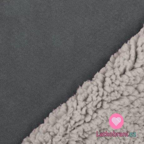 Umělá kožešina / imitace ovčího rouna (sherpa) šedá