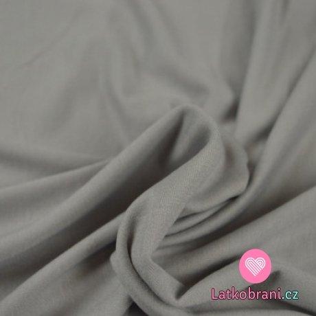 Viskózový jednobarevný úplet stříbřitě šedý