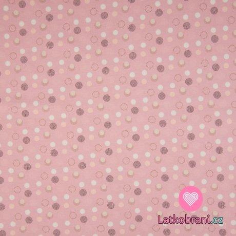 Úplet potisk jemné barevné puntíky na růžové