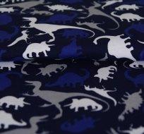 Úplet dinosauři modří na tmavě modré