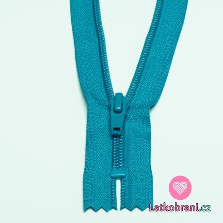 Zip spirálový nedělitelný modrý 18 cm
