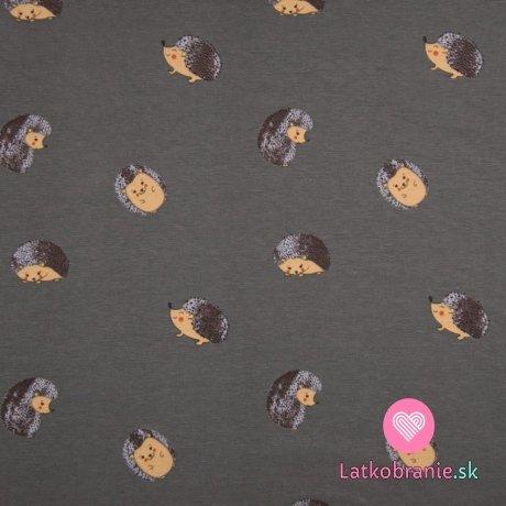 Úplet potisk ježeček v klubíčku na šedé