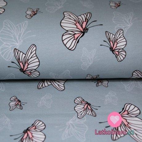 Teplákovina motýlci na jemně šedé