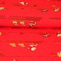 Bavlněný úplet Santa na cihlové zdi na červené