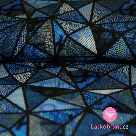 Úplet digitisk mozaikové trojúhelníčky modré -ZBYTEK
