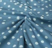 Úplet puntíky bílé na šedo-modré 7mm velké
