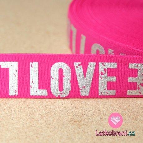 Pruženka text stříbrný Love na pink růžové 40mm