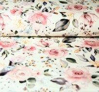 Teplákovina květy ve starorůžovém odstínu na smetanové