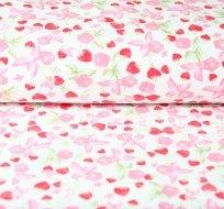 Úplet jahůdky růžové listy na bílé