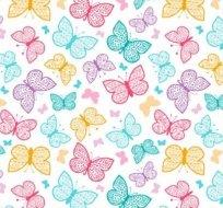Teplákovina motýlci barevní (růžový, modrý, žlutý)