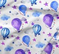 Teplákovina potisk fialovo-modré balóny v obláčcích