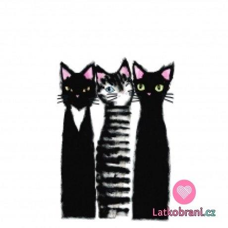 Panel tři černé kočky na bílé