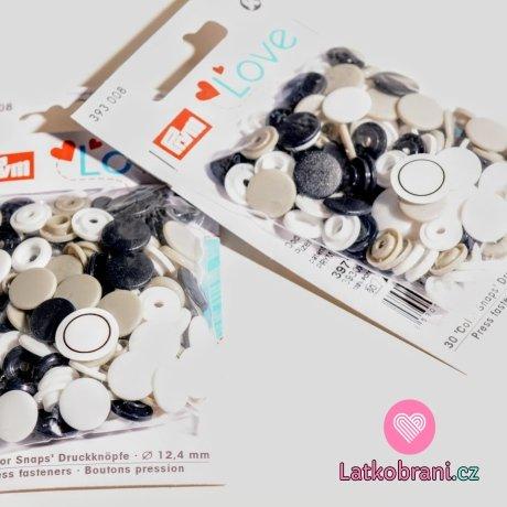 Patentky plastové Color snaps PRYM LOVE bílé, šedé, černé