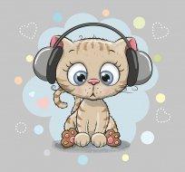 Panel kočka se sluchátky na šedé