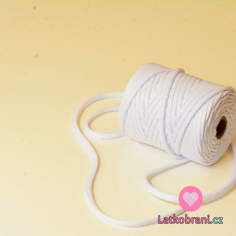 Šňůra kulatá oděvní PES 7 mm bílá