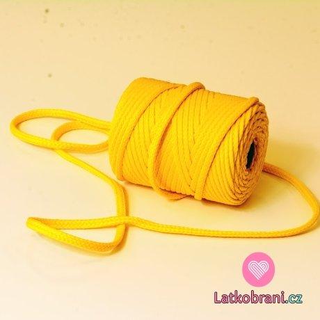 Šňůra kulatá oděvní PES 7 mm žlutá sluníčková