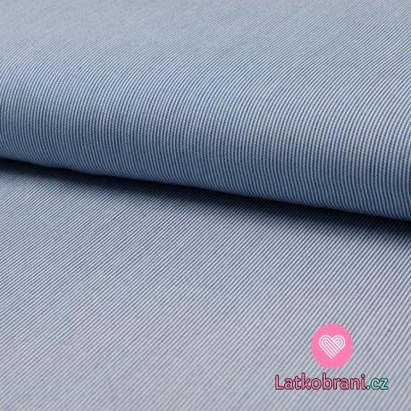 Viskóza jemné modro - bílé proužky