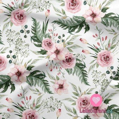 Dekorační bavlna potisk šípková růže s listy na bílé