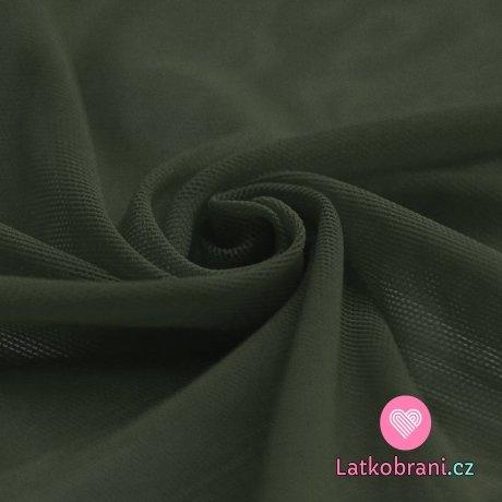 Síťovina strečová khaki zelená