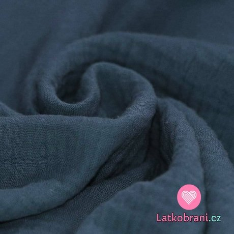 Dvojitá gázovina / mušelín jeansově modrá
