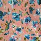 Softshell potisk malovaná modrá kvítka na růžové