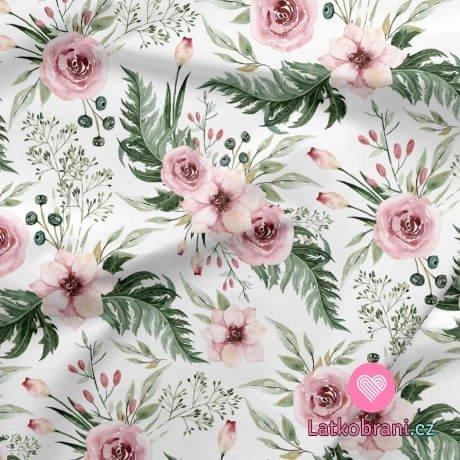 Bavlněné plátno šípková růže s listy na bílé