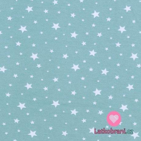 Bavlněný úplet hvězdičky na modré