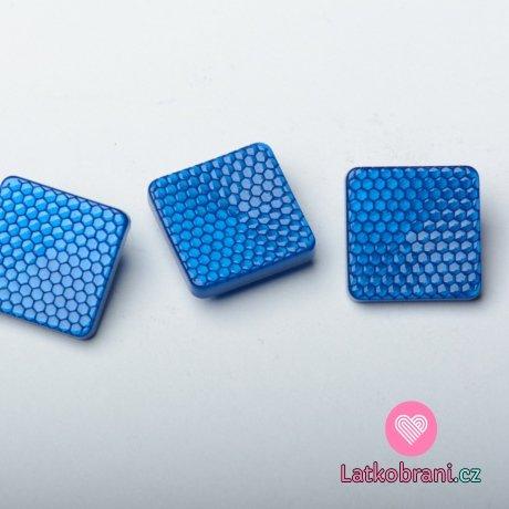 """Knoflík čtvercový, lesklý, """"včelí plástev"""" modrý"""