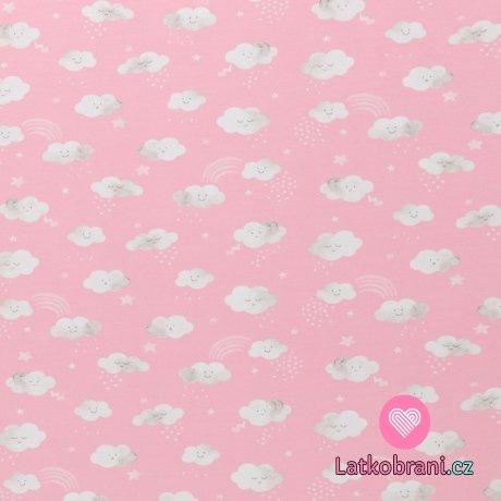 Úplet potisk jarní mráčky na baby růžové