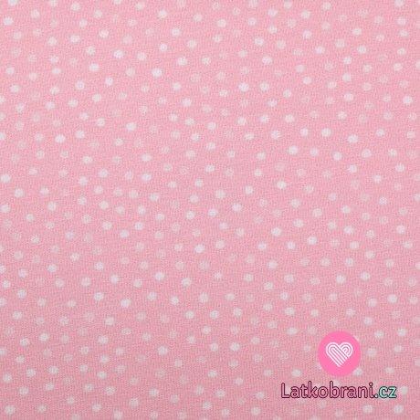 Úplet potisk malé bílé puntíky na baby růžové