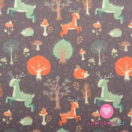 Softshell letní potisk zvířátka v lese na tmavé hnědé
